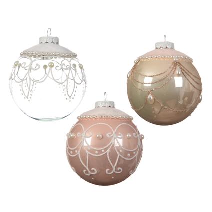 Glazen kerstballen met fluwelen design 1 stuk