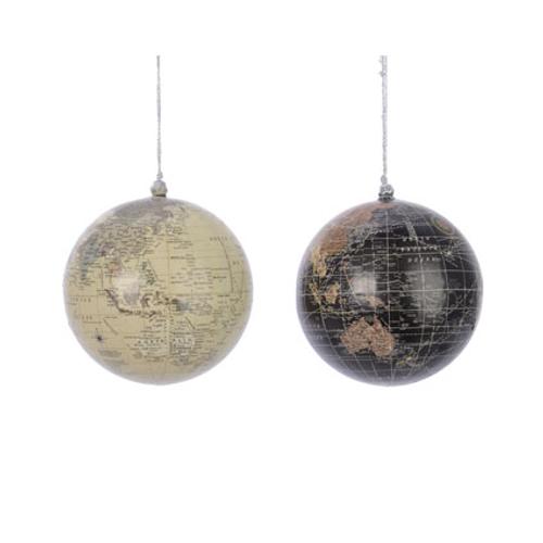 Boules de Noël plastique carte monde 1 pièce