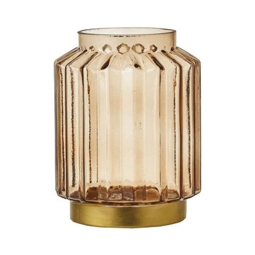 Photophore 'Lorens' verre jaune 19,5cm