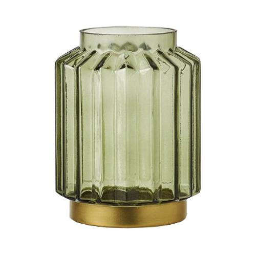 Photophore 'Lorens' verre vert 19,50cm