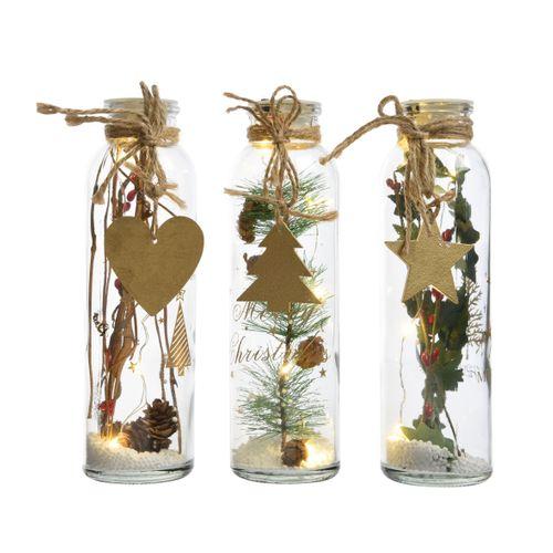 Decoris kerstdecoratie fles met LED-lampjes 6x20cm 1 stuk