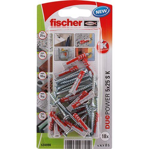 Fischer nylon plug DuoPower universeelplug 5x25 + schroef 18st.