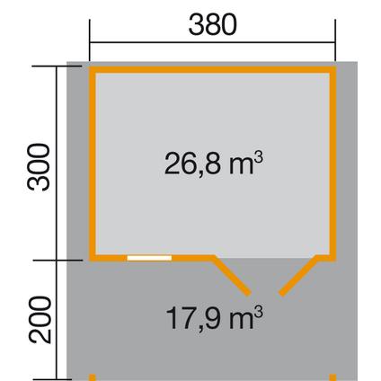 Weka tuinhuis 111A GR2 eiken licht + terras 18,75m²