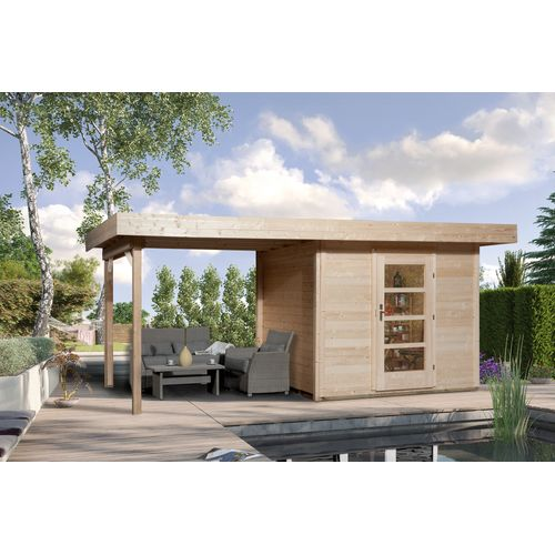 Weka tuinhuis met overkapping 172 Type B GR2 300x530cm