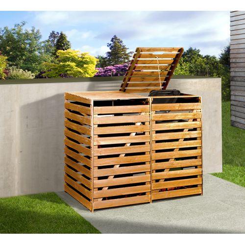 Armoire pour 2 poubelles Weka brun 148x92x122cm
