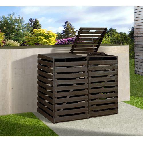 Armoire de jardin 2 poubelles Weka anthracite 148x92x122cm