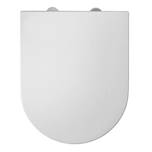 DUNEO - Abattant en Thermodur - Charnières inox - Déclipsable 1 bouton  - Fermeture progressive - Antibactérien - D-shape - Forme adaptée aux cuvettes droites - Design extra plat
