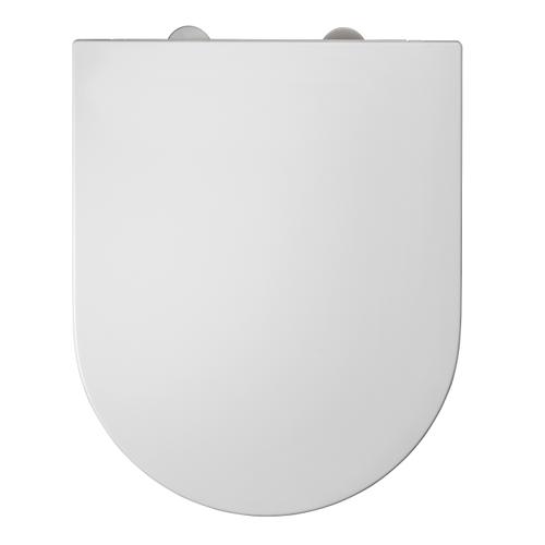 DUNEO - WC-zitting in Thermohardende kunststof - Inox scharnieren - Afklikbaar met 1 knop - Soft Close sluiting - Anti-bacteriëel - D-vorm - Vorm aangepast aan rechte Wc-potten - Extra plat ontwerp