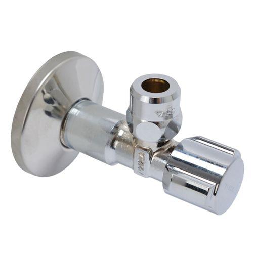 """Vanne d'arrêt d'angle + rosette Schell chrome (filetage mâle x compression) 1/2""""x10mm"""