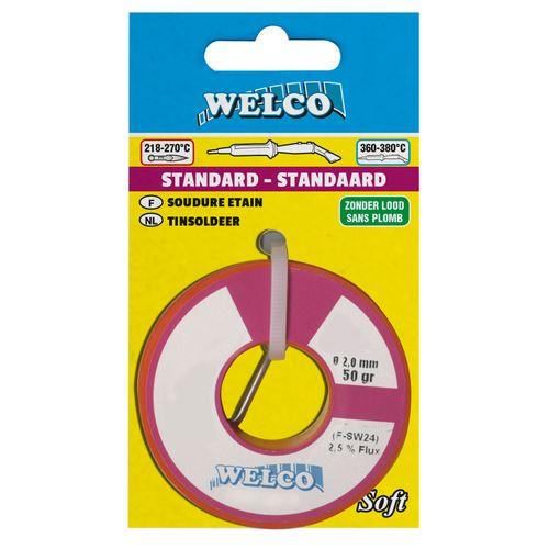 Soudure étain Welco sans plomb 2 mm 200 gr