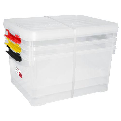 Boîte de rangement Curver Handy+ transparent rouge jaune noir 3x35L