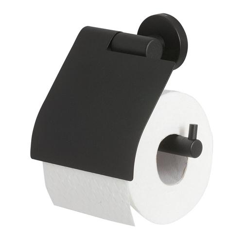 Tiger toiletrolhouder Boston zwart met klep