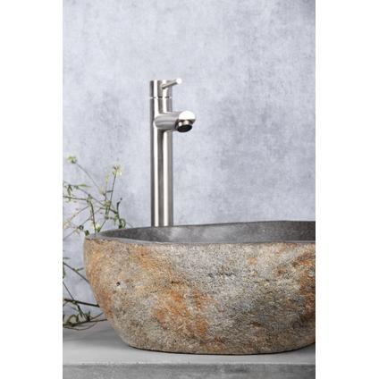 Vasque à poser Differnz Lombok pierre de rivière gris 50cm