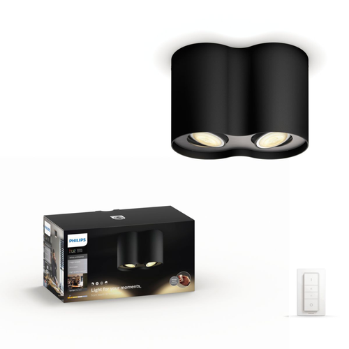 Philips Hue spot Pillar zwart 2x5,5W