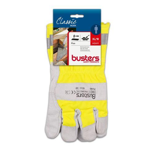 Busters handschoenen Fluo leder geel M10