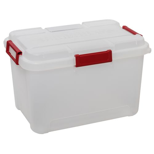 Keter opbergbox Outback transparant rood 60L