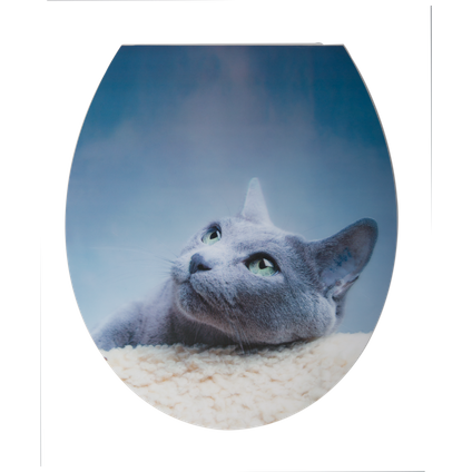 Aquazuro toiletzitting 3D kat duroplast blauw