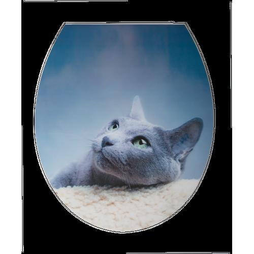 Abattant WC Aquazuro 3D Chat bleu Duroplast Softclose