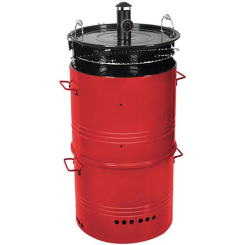 Central Park barrel houtskoolbarbecue 5-in-1 Ø48cm rood