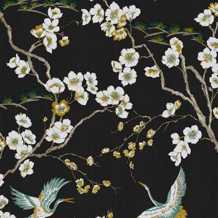Sublime papier peint intissé Japan noir vert