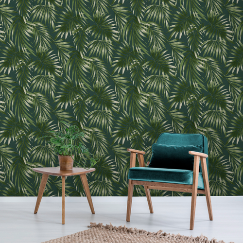 Decomode vliesbehang Elegant leaves groen