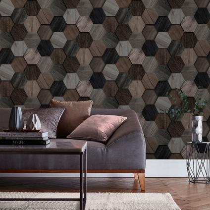 Papier peint intissé DecoMode Hexagon bois gris