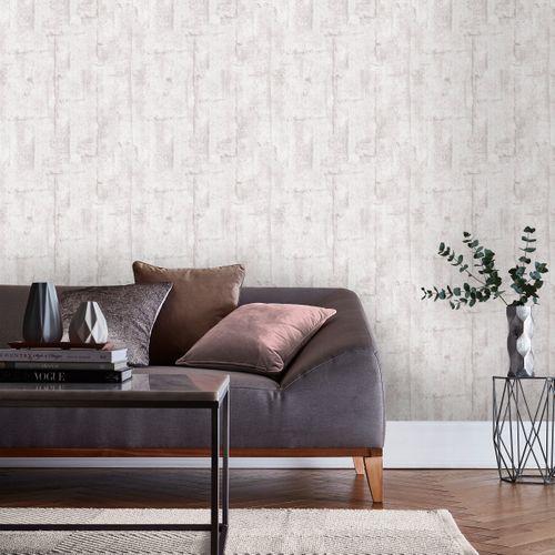 Papier peint intissé DecoMode Wood Concrete blanc