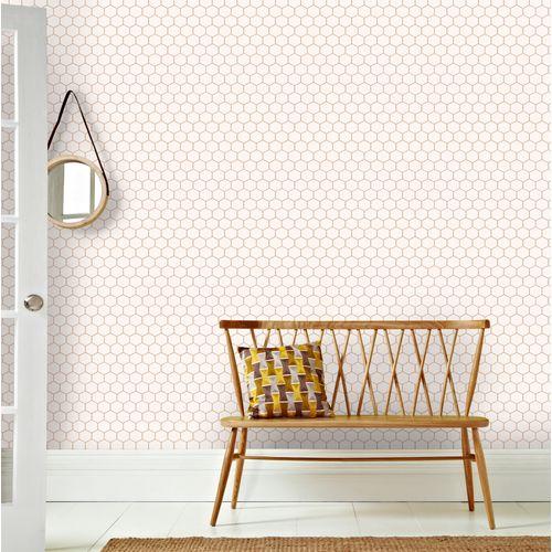 Decomode vliesbehang Hexagon naturel
