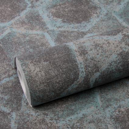 DecoMode vliesbehang Stone geo petrol