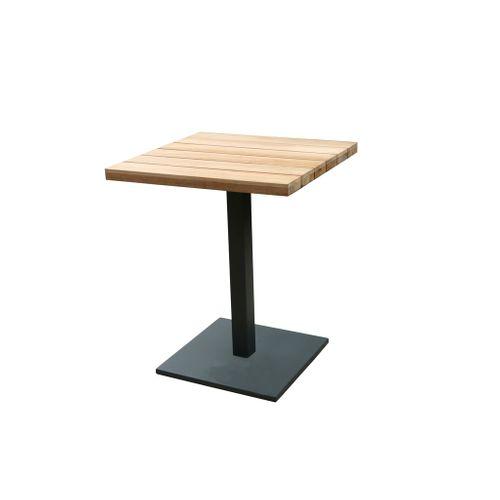 Table de bistrot Central Park Biarritz teck/aluminium 60x60cm