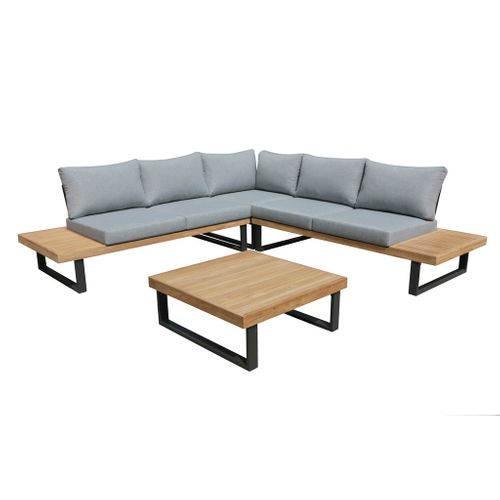 Central Park loungeset Menton antraciet/hout