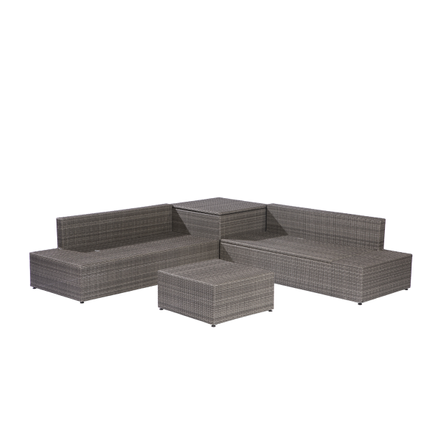 Ensemble lounge Central Park Eze 4pcs résine tressée taupe