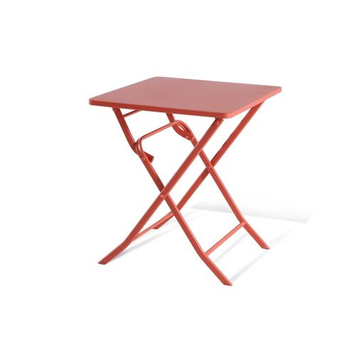 Table de bistrot Central Park Stacy rouge acier 60x60cm