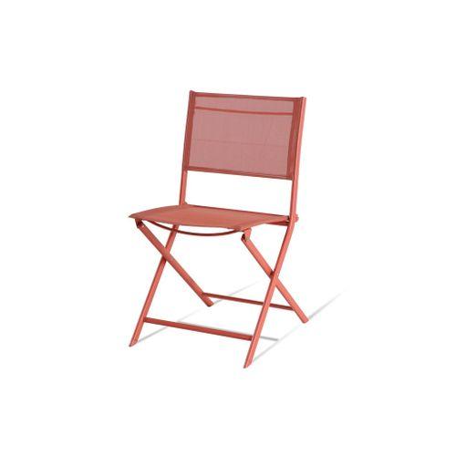 Central Park Chaise Stacy pliable acier/textilène ronde