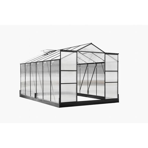 Serre Central Park Lelystad polycarbonate aluminium gris anthracite 250x371x209cm