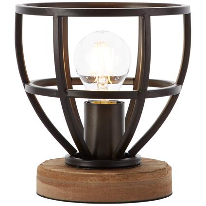 Lampe de table Brilliant Matrix bois noir Ø18cm