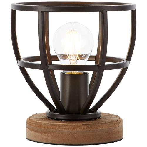 Brilliant tafellamp Matrix hout zwart Ø18cm