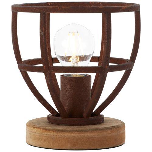 Brilliant tafellamp Matrix hout roest Ø18cm