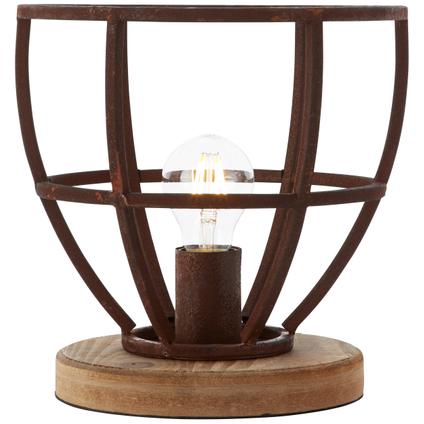 Lampe de table Brilliant Matrix bois/rouille E27