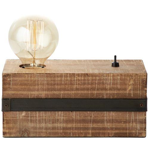 Lampe de table Brilliant Woodhill bois/noire E27