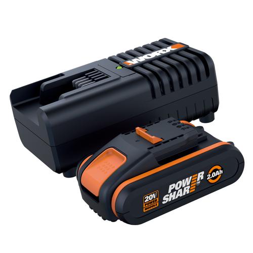 Worx set batterij en lader 20V 2Ah