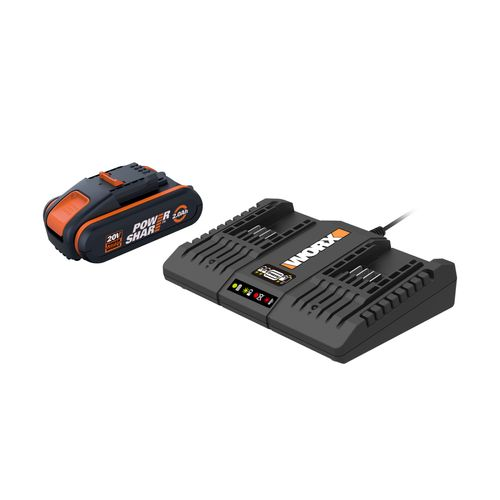 Kit 2 batteries et double chargeur Worx 2x20V