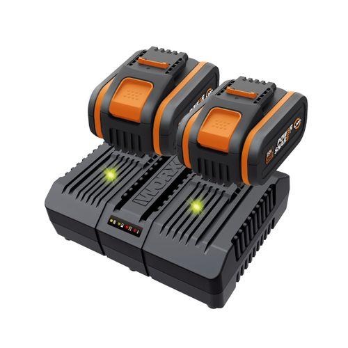 2 batteries + double chargeur  Worx WA3611 20V 4Ah