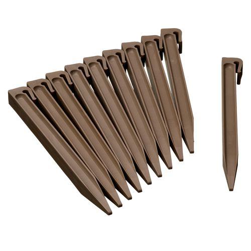 Nature grondpennen voor tuinborder polyethyleen taupe 1,9x1,8x26,7cm 10 stuks
