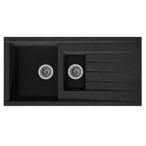 Évier Cube 1,5 bac composite noir 100x50x21cm