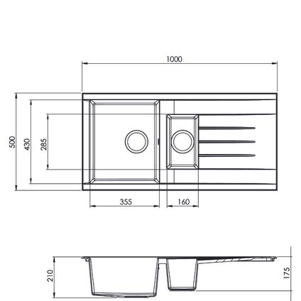 Spoelbak Cube 1,5 bak 100x50x21cm composiet zwart