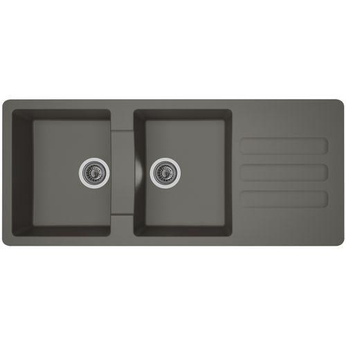 Évier Vogua 2bacs composite gris béton 116x50x21cm