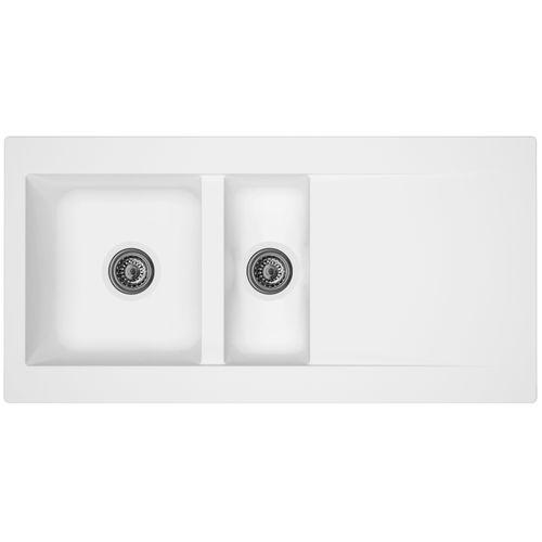 Évier Einna 1,5bac composite blanc 100x50x20cm
