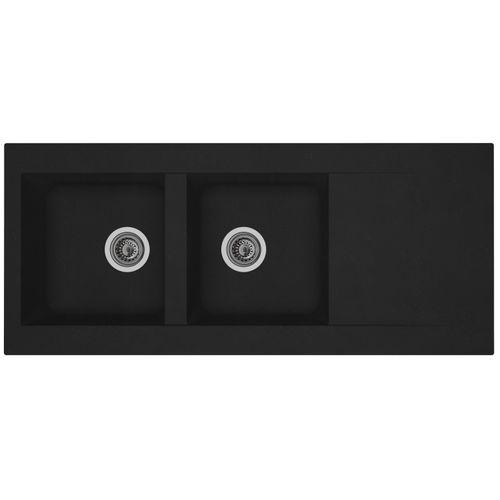 Évier Einna 2bacs composite noir 116x50x20cm