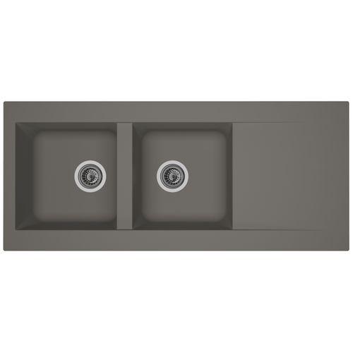 Évier Einna 2bacs composite gris béton 116x50x20cm
